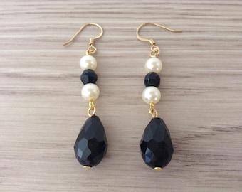 Black faceted Czech glass drop earrings