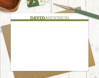 personalisiertes Briefpapier Satz - nicht fett fett Name - Set 12 flache Grußkarten - personalisierte stationäre - wählen Sie die Farbe