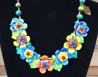 Lampwork Beaded Floral Necklace