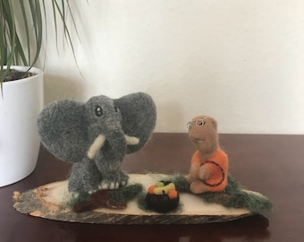 Buddha with his elephant, soft sculpture on wooden base, wool needle felted ornamental display.