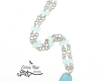 Aquamarine jade gemstone wire wrapped necklace, wire wrap jewelry, beaded jewelry,  blue jade beaded necklace, copper jewelry, boho jewelry
