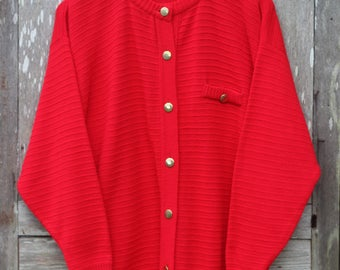 Vintage Red Knit Cardigan with Bronze Buttons