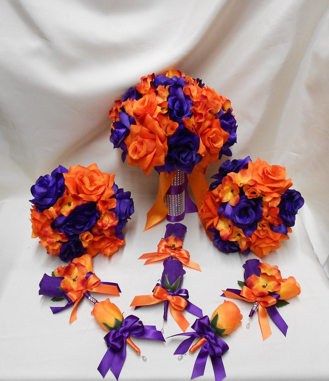 Wedding Silk Flower Bridal Bouquets Package Purple Orange
