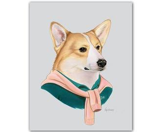 Corgi Dog art print by Ryan Berkley 5x7