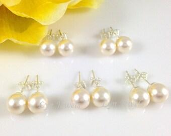 Set of 4 Pairs Swarovski Pearl Stud Earrings // Cream or White Bridesmaids Pearl Earrings // 8mm Pearl Earstuds Gift