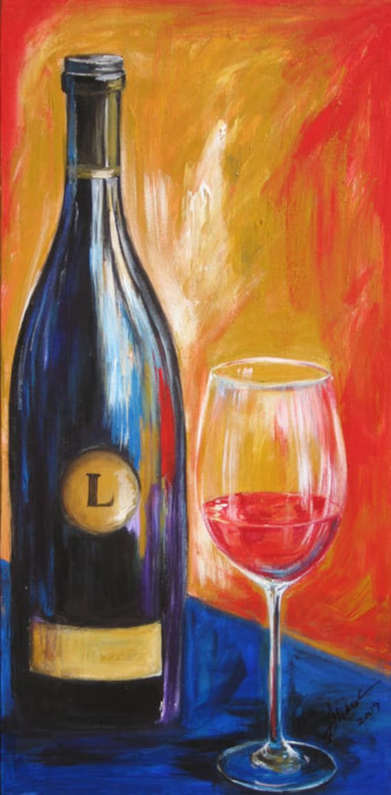 wine painting wine bottle and wine glass art limited edition