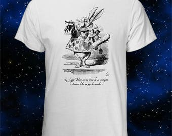 French Alice in Wonderland T-Shirt - White Rabbit Blows Trumpet - Cute T-Shirt - Cool Gift - French T-Shirt - Alice Liddell - Lewis Carroll