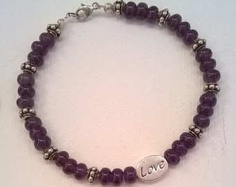 Love and Heart Message Bead Bracelet with Deep Purple Amethyst and Sterling Silver Beads - Gift Bracelet