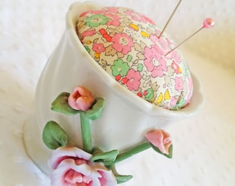 Pink Porcelain Roses Miniature Planter Pincushion - Liberty of London Betsy Ann fabric cushion - upcycled recycled repurposed