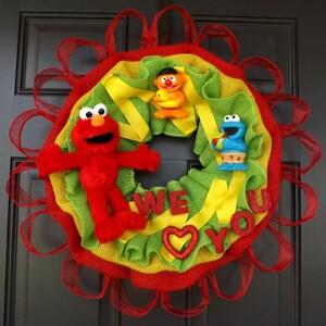 "24"" Wonderful  Unique Handmade Wreath Kid's  Birthday! room decor - Elmo! - Great Mother's Day Gift!"