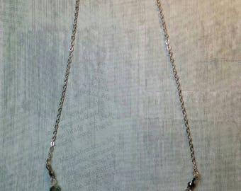 Green multichrome druzy necklace
