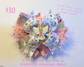 Breast  Cancer Awareness Angel Stacked Boutique Bow