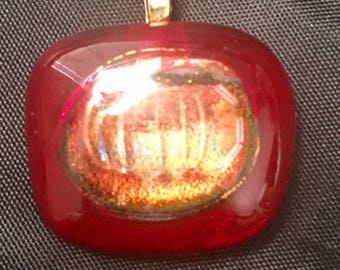 Deep Ruby Garnet dichroic glass pendant with gold plated bale/bail