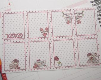 8 Planner Stickers Full Shaded Box Vertical Horizontal Monkey Valentine Planner Stickers eclp PS372 Fits Erin Condren