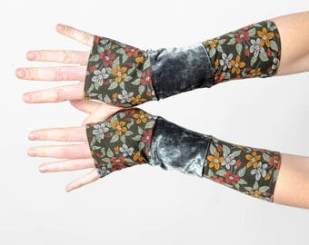 Green floral gloves, Long jersey armwarmers, Patchwork fingerless gloves in floral khaki green and green velvet, Gift for women MALAM