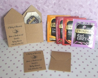 Vintage Style, Personalised Baby Shower, Afternoon Tea, Favor, Kraft Card Teabag Envelopes