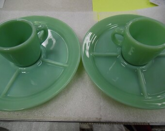 Fire King Jadite, Fire king restaurant ware plates, fire king jadite cup divided plates, 5 part jadite divided plates