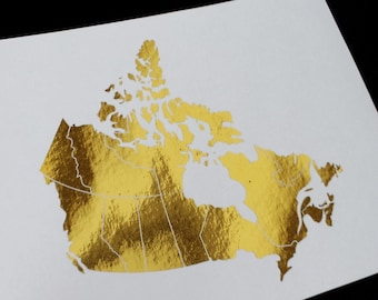 Oops Print - Country of Canada - Gold Foil 5 x 7 Print