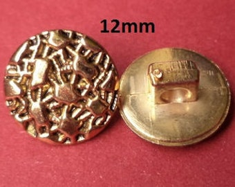 10 Small Knobs Gold 12 mm (4170) button