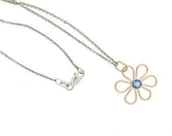 Aquamarine in Rose Gold Flower Pendant