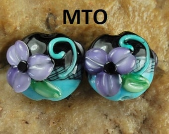 Lampwork Beads, Glass Beads, Made To Order, Purple and Turq Flowers, Earring Beads SRA #198 by CC Design
