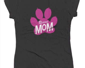 Rescue Mom Paw Pink Adoption Pets Rescue Animals Dogs Cats Shelter Juniors T-shirt SF_0038
