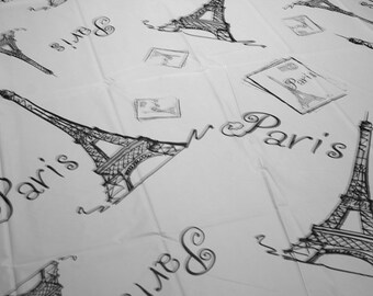 "PARIS EIFFEL Tower Print Plastic TABLECOVER 54"" X 108"" Medium Weight Plastic"