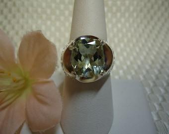 Cushion Cut Green Amethyst (Prasiolite) Ring in Sterling Silver  #690