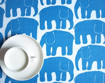 Tablecloth white blue elephants Scandinavian Design , also napkins , table runner , curtains , pillow available, great GIFT