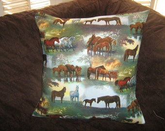 HORSES In The MEADOW Pillow  Cover Out of Print fabric