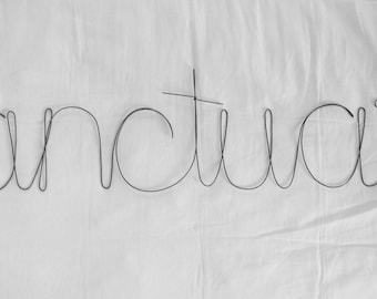 SANCTUARY Wire Word Wall Hanging Art