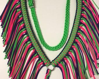breast collar, rodeo tack, barrel racing tack, fringe  breast collar, paracord horse tack, paracord breast collar, neon green horse tack,