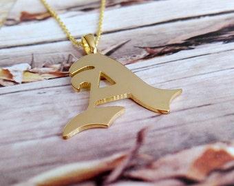 Old English Necklace,Personalized Old English Necklace,Single Letter Necklace,A-Z Letter Necklace,Initial Monogram Necklace,Handmade Custom