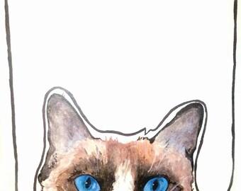 Grumpy Cat, watercolor illustration,print,wall decor,whish card, tadar saue