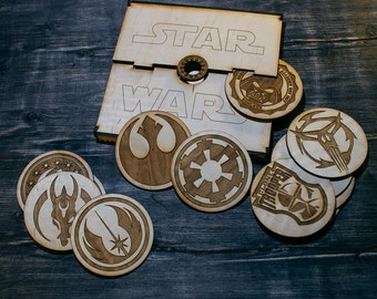 Star Wars wood (wooden) coasters in gift box (Galactic Empire, Rebel Alliance, Neo-Crusader, Death Star, Jedi Order etc)