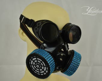 Blue Crystal Steampunk Mask with goggles | Steampunk Respirator | Gas Mask | Halloween Mask | Dust Mask | Cosplay Mask | Burning Man Mask