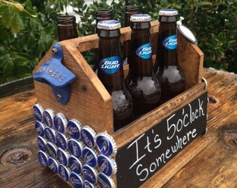 Beer caddy,Budlight Beer Bottle Holder with bottle opener,Husband gift,Groomsmen gift,Wedding gift,Fathers day gift,fathers day gift