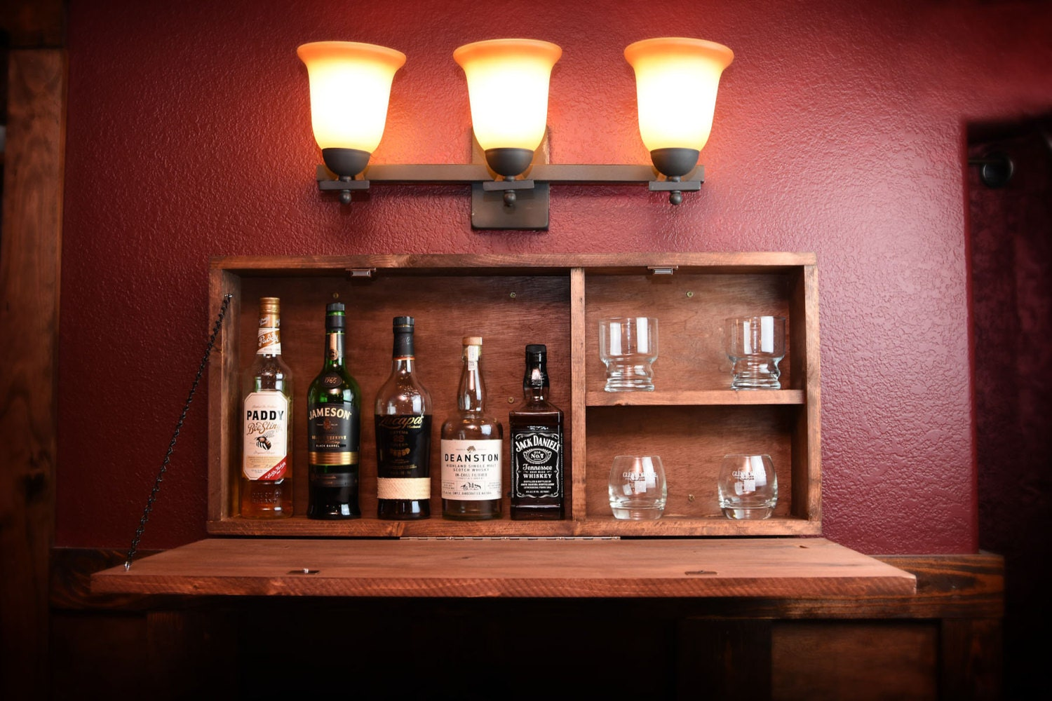 Rustic Wooden Murphy Bar Hidden Liquor Cabinet
