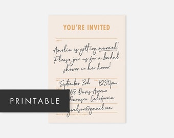 Printable Bridal Shower Invitations Pink / Printable Bridal Shower Invites / Printable Modern Bridal Shower Invites / Baby Shower, Birthday