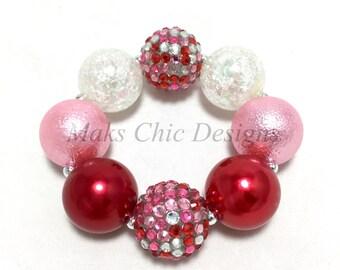 Toddler or Girls Valentine's Day Chunky Bracelet - Red, Pink and White Confetti chunky bracelet - Candy bracelet - Flower girl bracelet