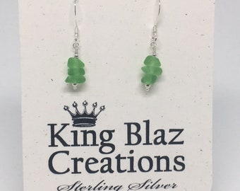 Genuine Sea Glass Sterling Silver Earrings - Stacked Frosted Green Sea Glass