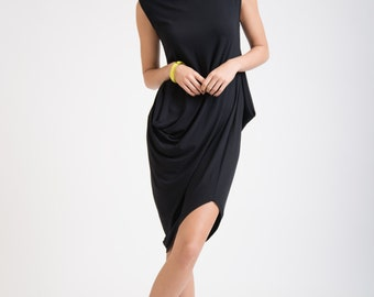 SALE Party Dress / Black Dress / Oversize Tunic / Asymmetric Dress / Loose Dress / Scoop Neckline Dress / Marcellamoda - MD0259
