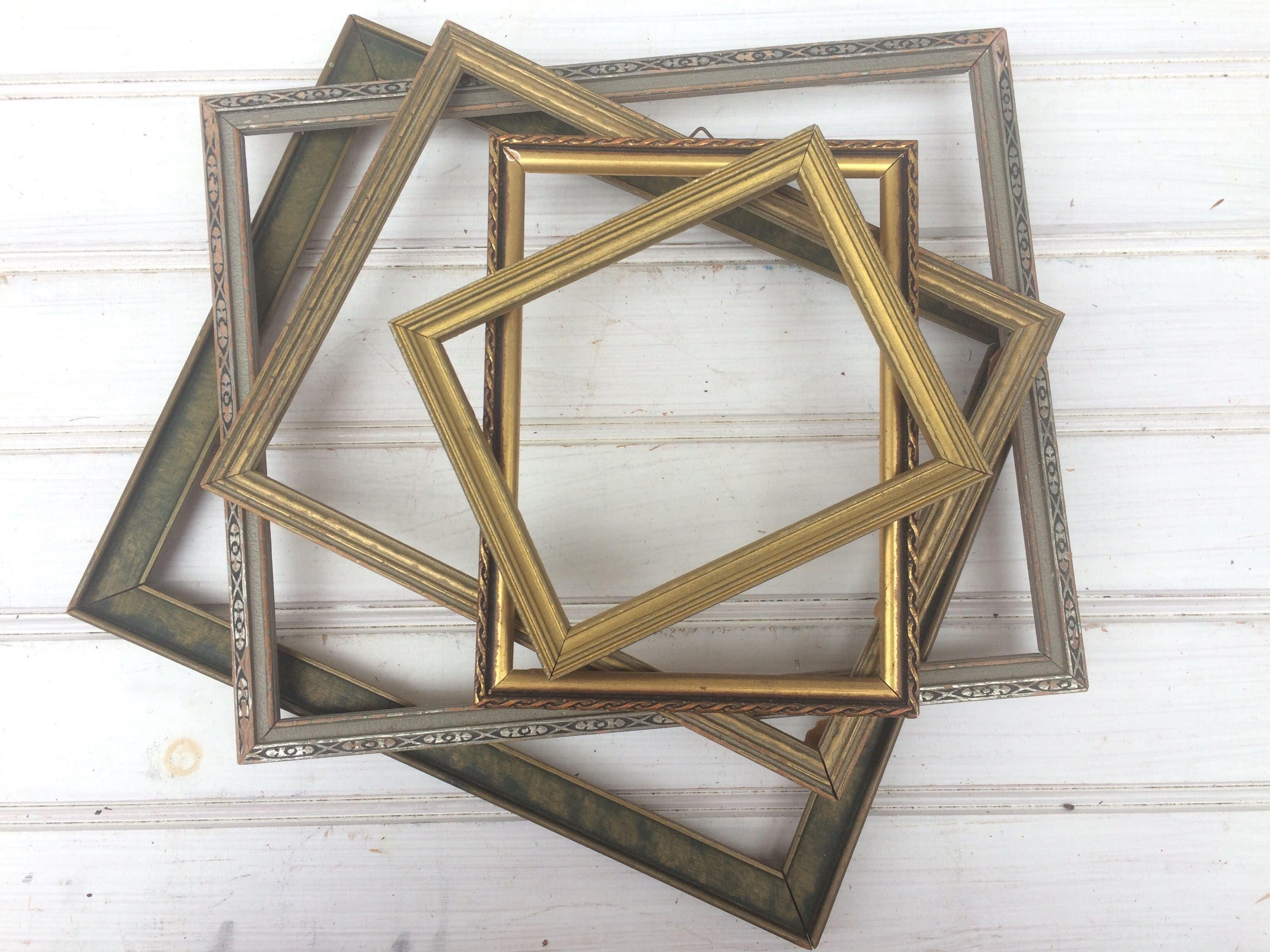 FIVE Vintage Frames, Gallery Wall, no glass, wood frames, gilded ...