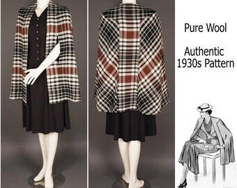 30s wool plaid cape black brown off-white swing  1930 1940