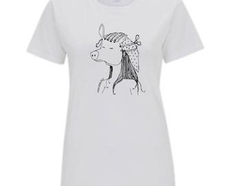 Pigface Illustration Ink Drawing Graphic Womens Organic Cotton T- Shirt Top. White.