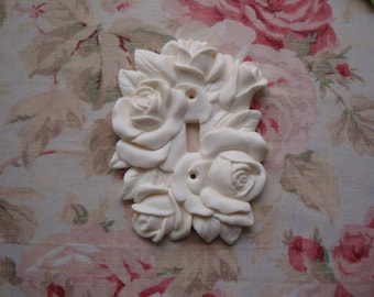 New! Shabby Chic Gorgeous Carved Roses & Leaves Single Toggle Switch Plate Cover