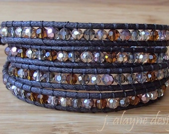 Gemstone Wrap Bracelet. Vegan Wrap Bracelet. Cotton Wrap Bracelet. Multicolor Bracelet. Faceted Bead Bracelet
