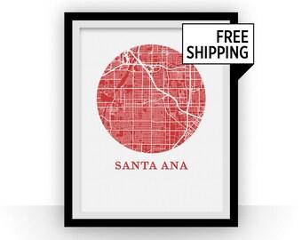 Santa Ana Map Print - City Map Poster