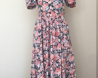 80s vintage Laura Ashley floral market dress, size 10