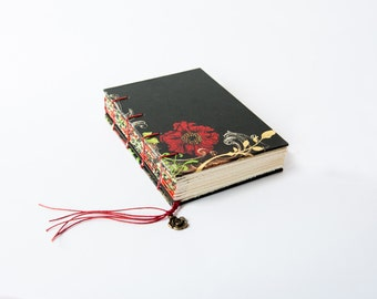 Mother's Day gift, Small Coptic Journal, Notebook, Sketchbook Back and Red Floral